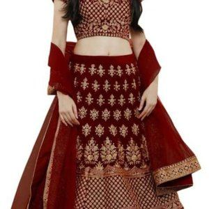 Embroidered Semi Stitched Lehenga, Choli, Dupatta